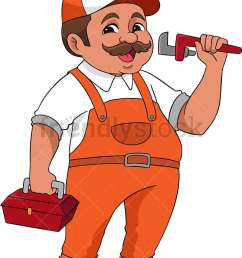 plumber holding wrench and toolbox vector cartoon clipart [ 800 x 1040 Pixel ]