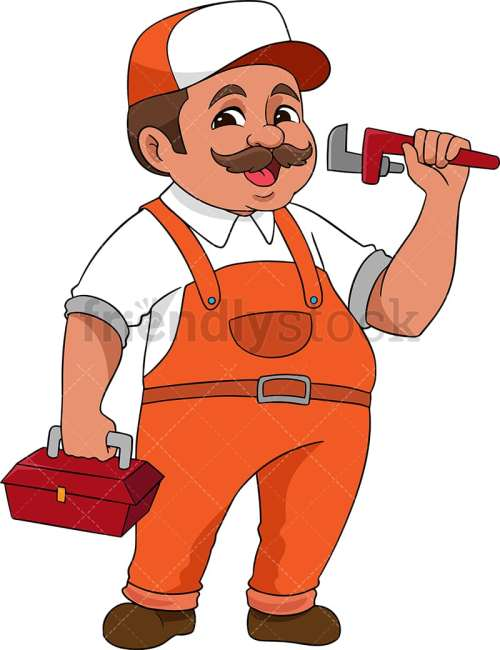 small resolution of plumber holding wrench and toolbox vector cartoon clipart