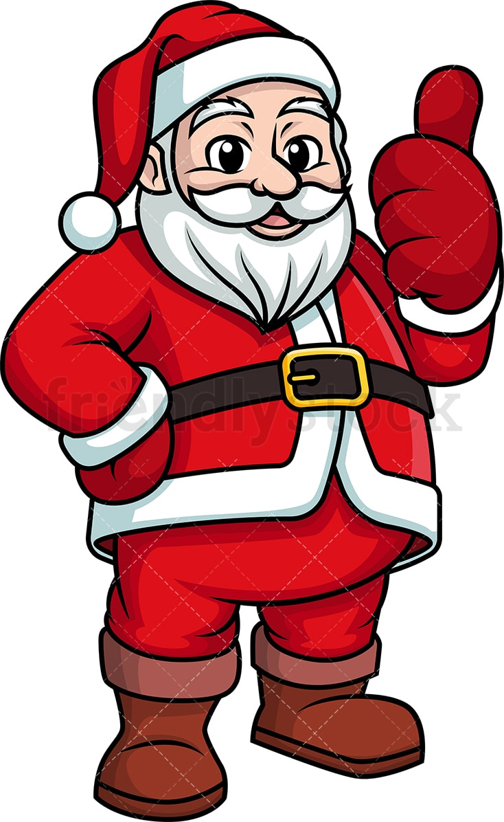 hight resolution of santa claus giving the thumbs up vector cartoon clipart