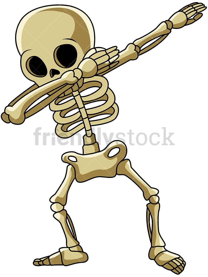 a dabbing skeleton