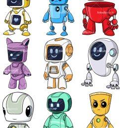 cute robots collection vector cartoon clipart [ 800 x 1067 Pixel ]