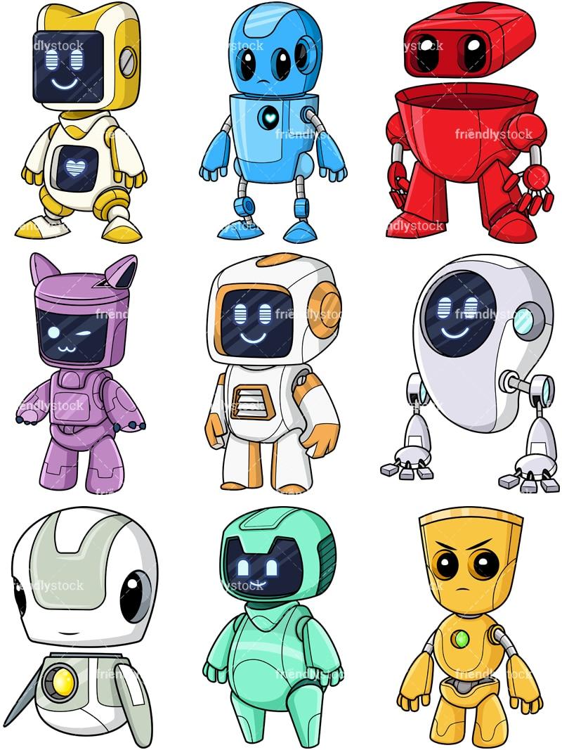 medium resolution of cute robots collection vector cartoon clipart