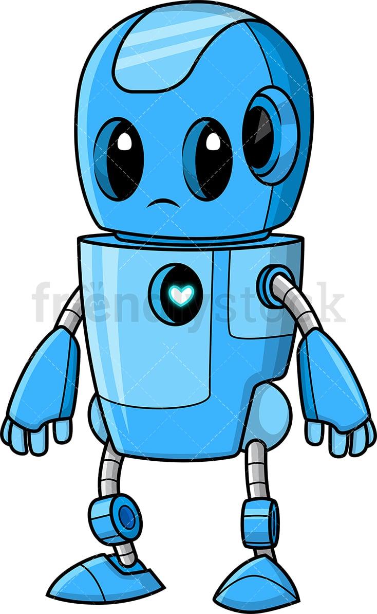 hight resolution of cute blue robot vector cartoon clipart