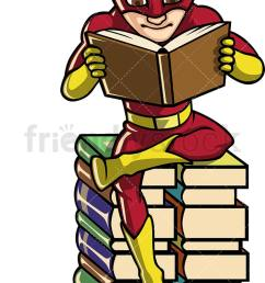 a book lover superhero reading while seated on a pile of books vector cartoon clipart [ 748 x 1196 Pixel ]