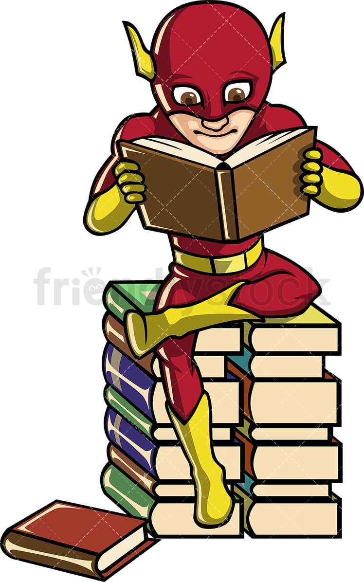 hight resolution of a book lover superhero reading while seated on a pile of books vector cartoon clipart