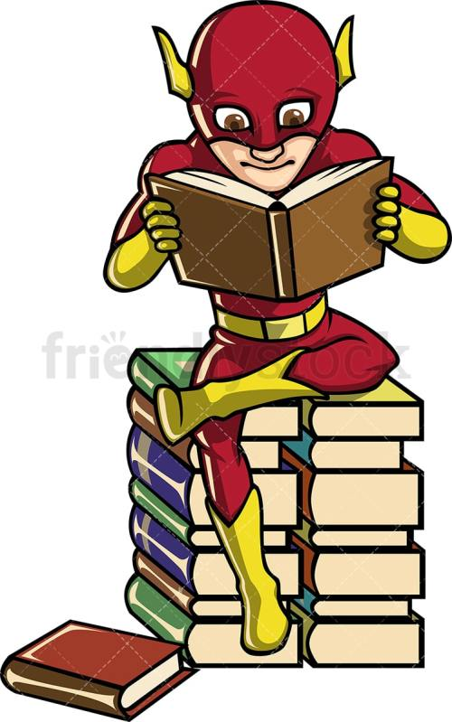 small resolution of a book lover superhero reading while seated on a pile of books vector cartoon clipart