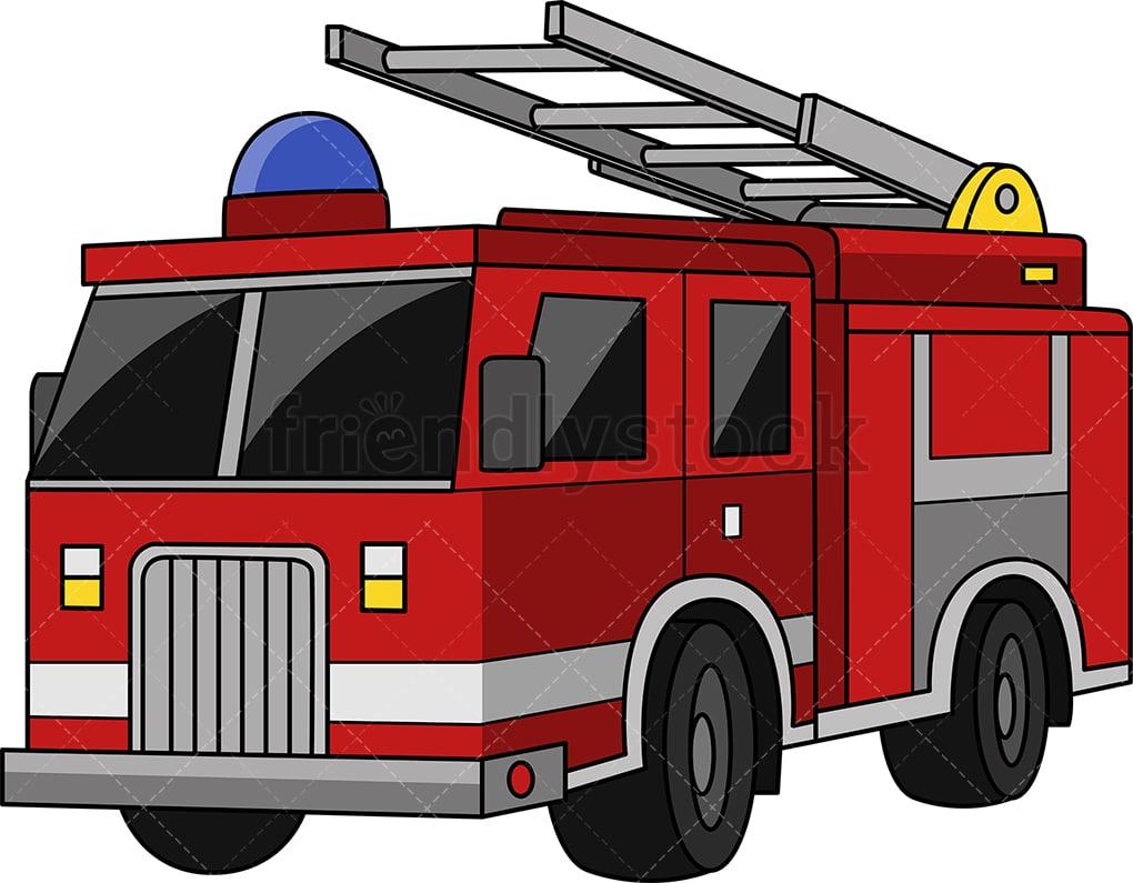 hight resolution of fire truck vector cartoon clipart