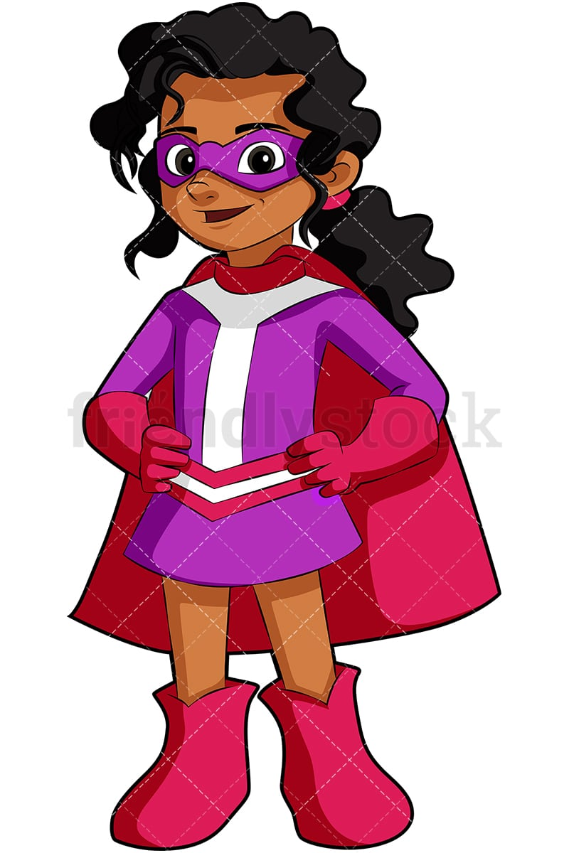 hight resolution of an indian little girl superhero with a cape vector cartoon clipart