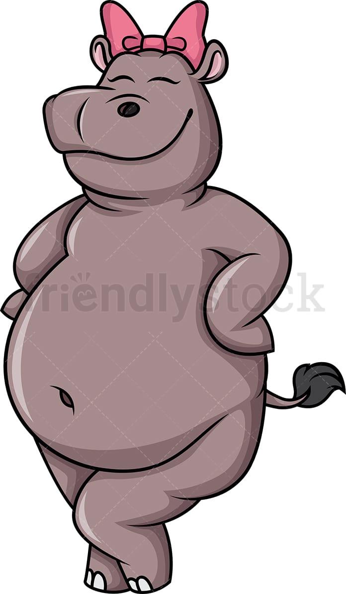 hight resolution of female hippo vector cartoon clipart