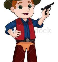 kid cowboy with fake pistol vector cartoon clipart [ 800 x 1200 Pixel ]