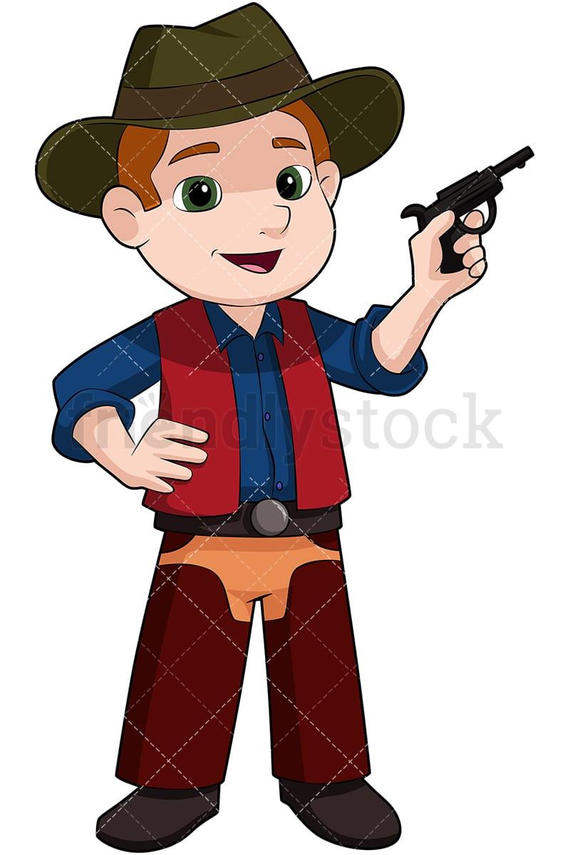 medium resolution of kid cowboy with fake pistol vector cartoon clipart