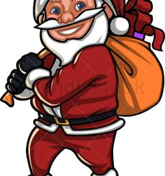 a short smiling santa claus carrying a gift sack vector cartoon clipart [ 805 x 1180 Pixel ]