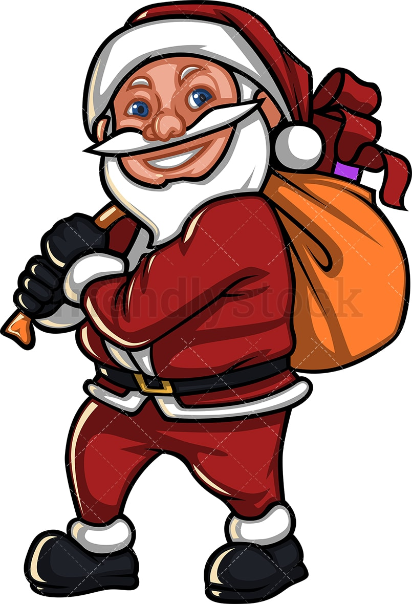 hight resolution of a short smiling santa claus carrying a gift sack vector cartoon clipart