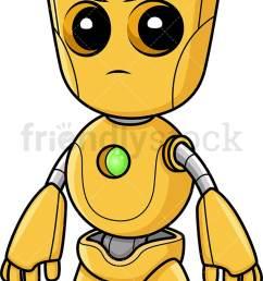angry yellow robot vector cartoon clipart [ 724 x 1194 Pixel ]