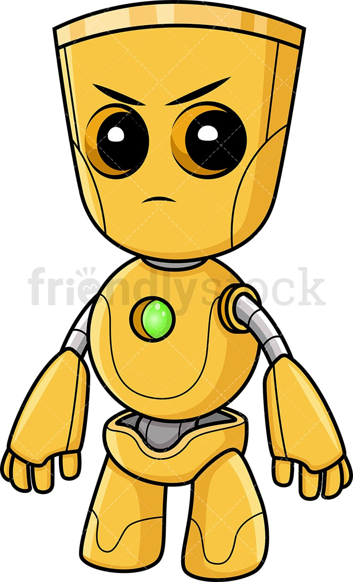 hight resolution of angry yellow robot vector cartoon clipart