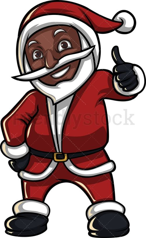 small resolution of a black santa claus giving the thumbs up vector cartoon clipart