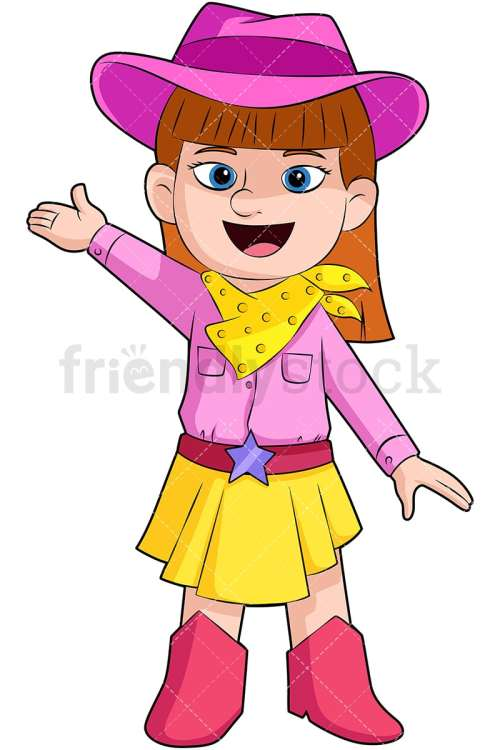 small resolution of cute girl cowboy with hats and boots vector cartoon clipart