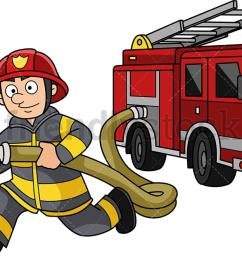 running firefighter with firetruck png jpg and vector eps infinitely scalable  [ 1194 x 665 Pixel ]