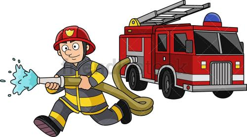 small resolution of running firefighter with firetruck png jpg and vector eps infinitely scalable