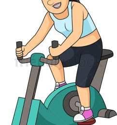 woman working out with gym bike vector cartoon clipart [ 809 x 1196 Pixel ]