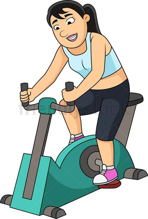small resolution of woman working out with gym bike vector cartoon clipart