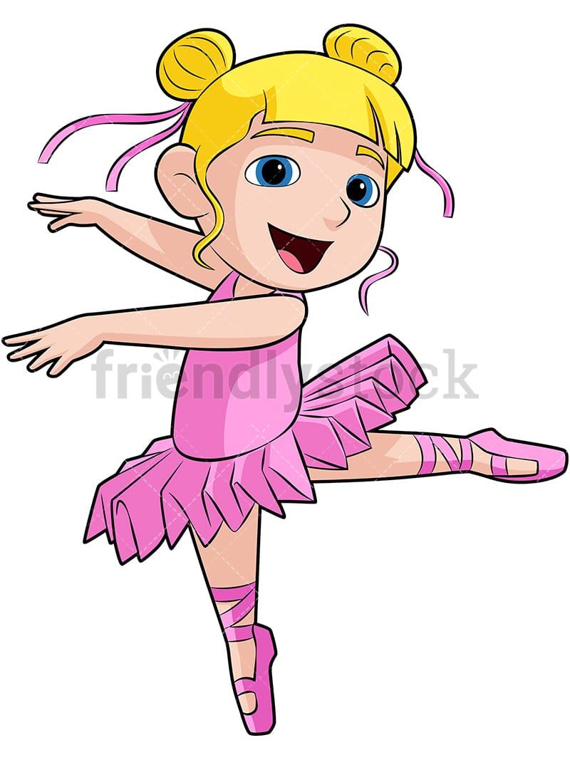 hight resolution of cute ballerina with pink dress vector cartoon clipart