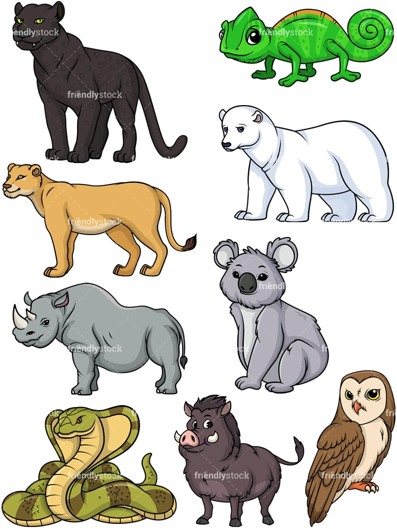 hight resolution of wild animals collection 4 vector cartoon clipart