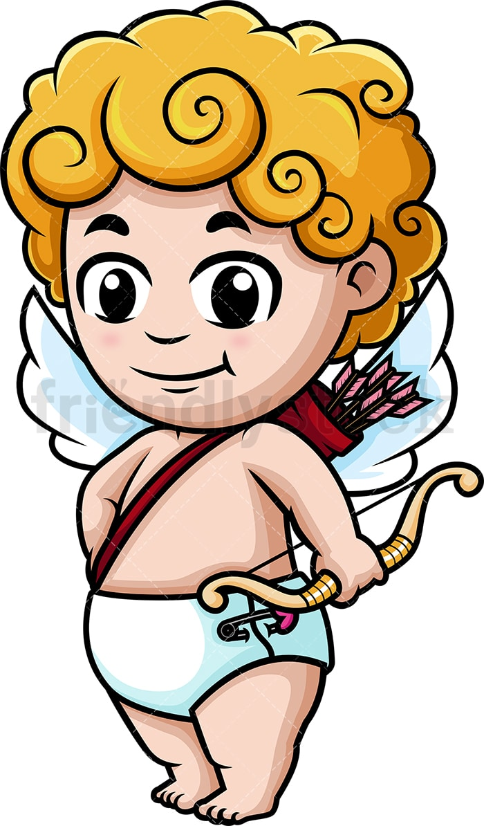 hight resolution of cute cupid holding bow vector cartoon clipart