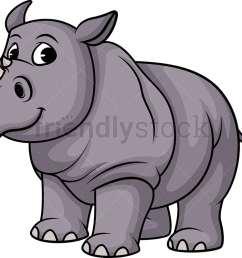 one horned rhino vector cartoon clipart [ 1020 x 798 Pixel ]