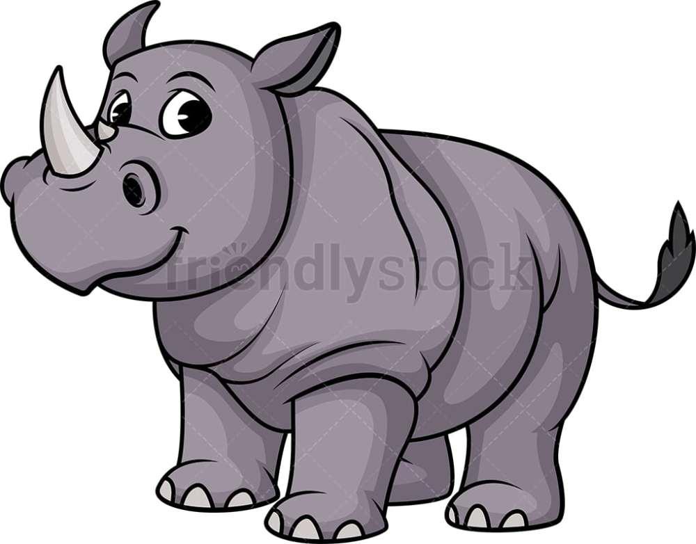 medium resolution of one horned rhino vector cartoon clipart