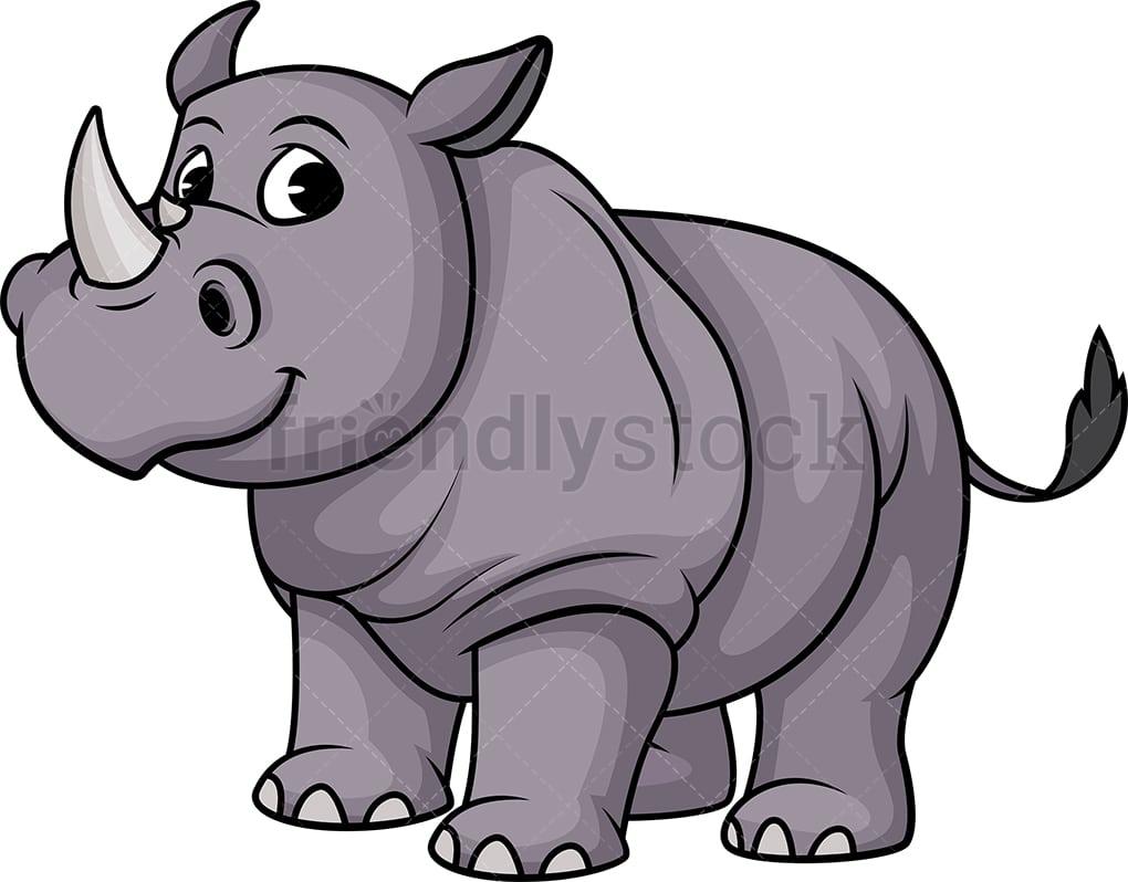hight resolution of one horned rhino vector cartoon clipart