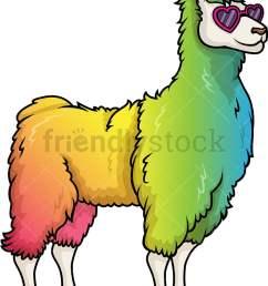 rainbow llama vector cartoon clipart [ 797 x 1050 Pixel ]
