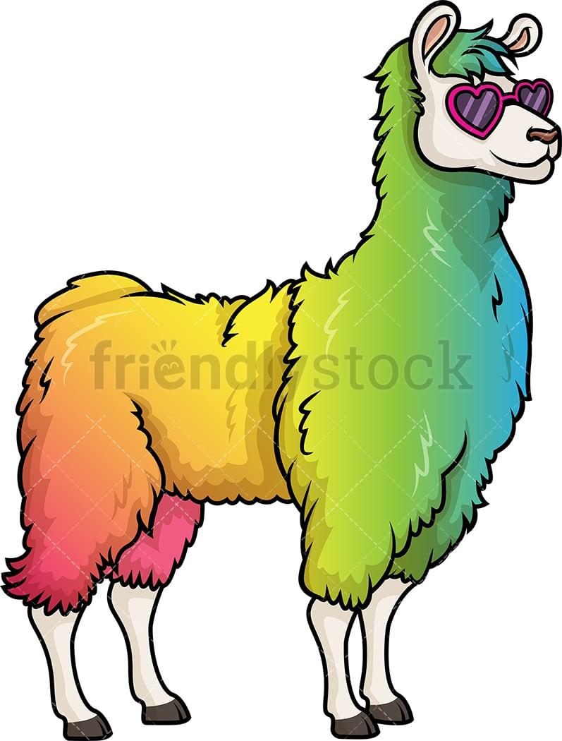 hight resolution of rainbow llama vector cartoon clipart