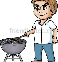 man cleaning bbq grill vector cartoon clipart [ 799 x 1020 Pixel ]