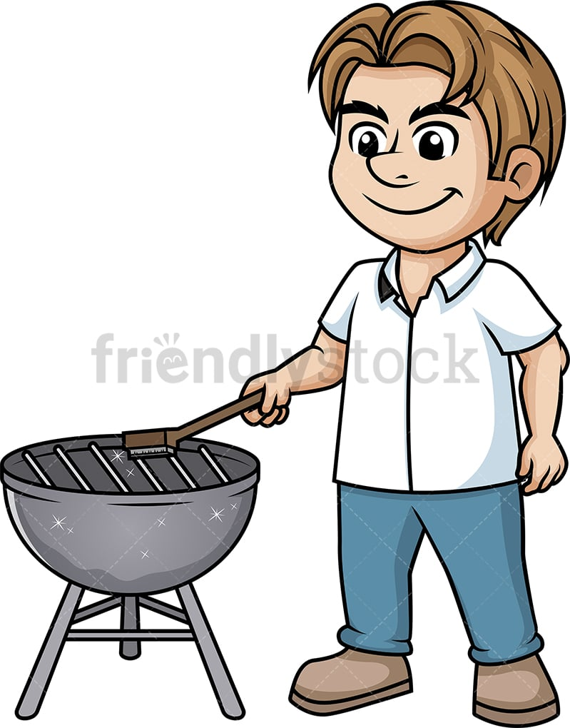hight resolution of man cleaning bbq grill vector cartoon clipart