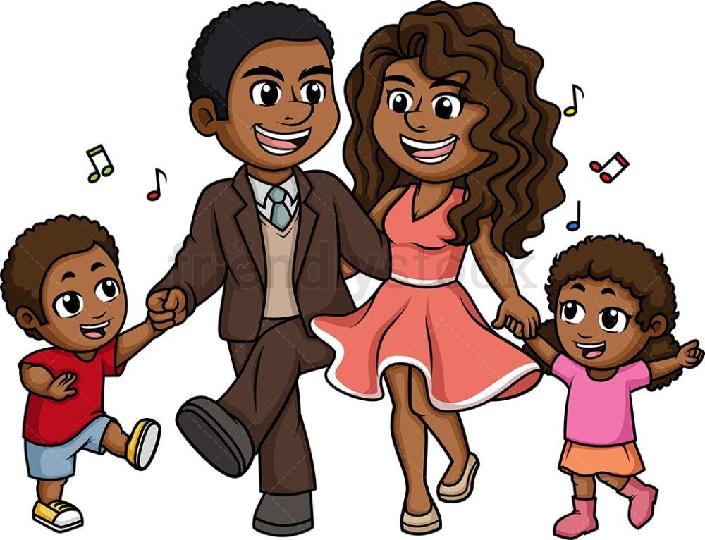 medium resolution of black family dancing vector cartoon clipart