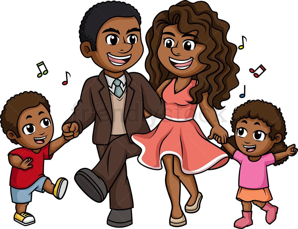 hight resolution of black family dancing vector cartoon clipart