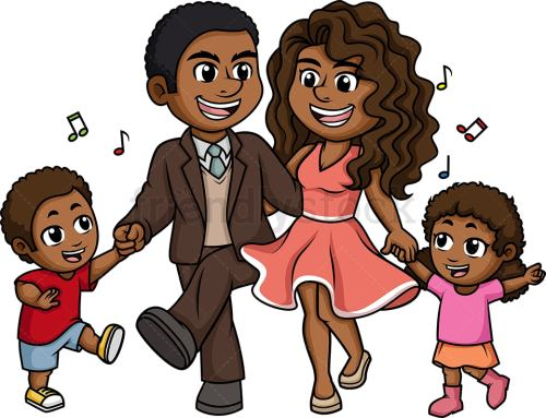 small resolution of black family dancing vector cartoon clipart