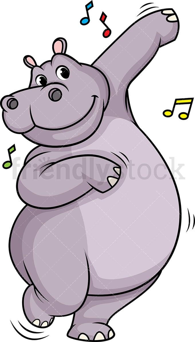 medium resolution of hippo dancing vector cartoon clipart