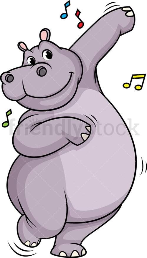 small resolution of hippo dancing vector cartoon clipart