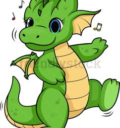 dragon dancing vector cartoon clipart [ 797 x 1010 Pixel ]