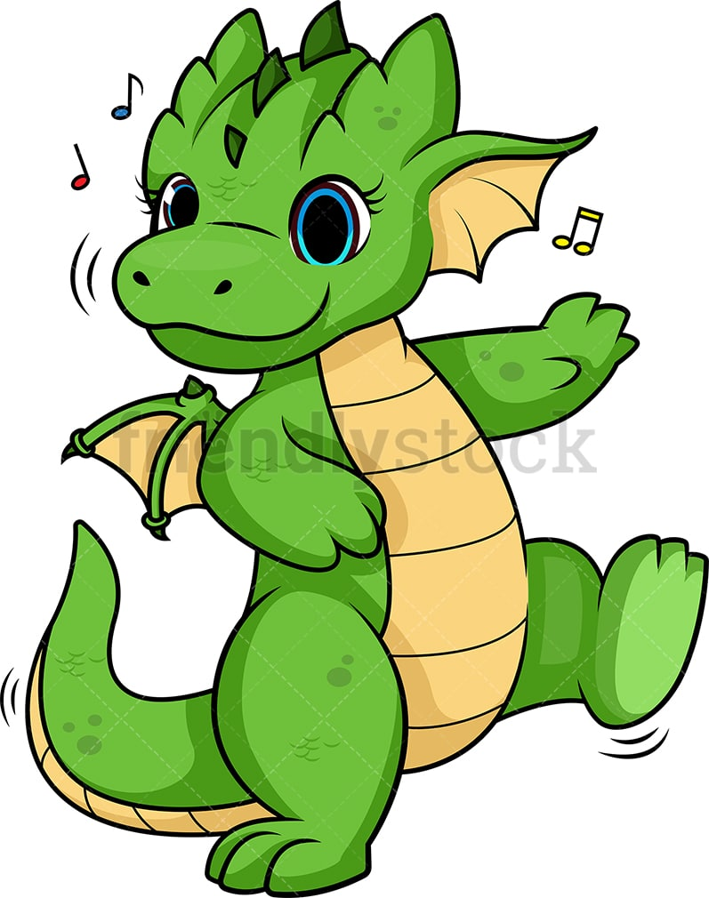 hight resolution of dragon dancing vector cartoon clipart