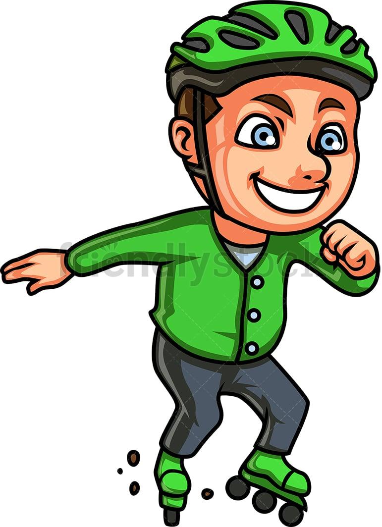 hight resolution of little boy roller skating vector cartoon clipart