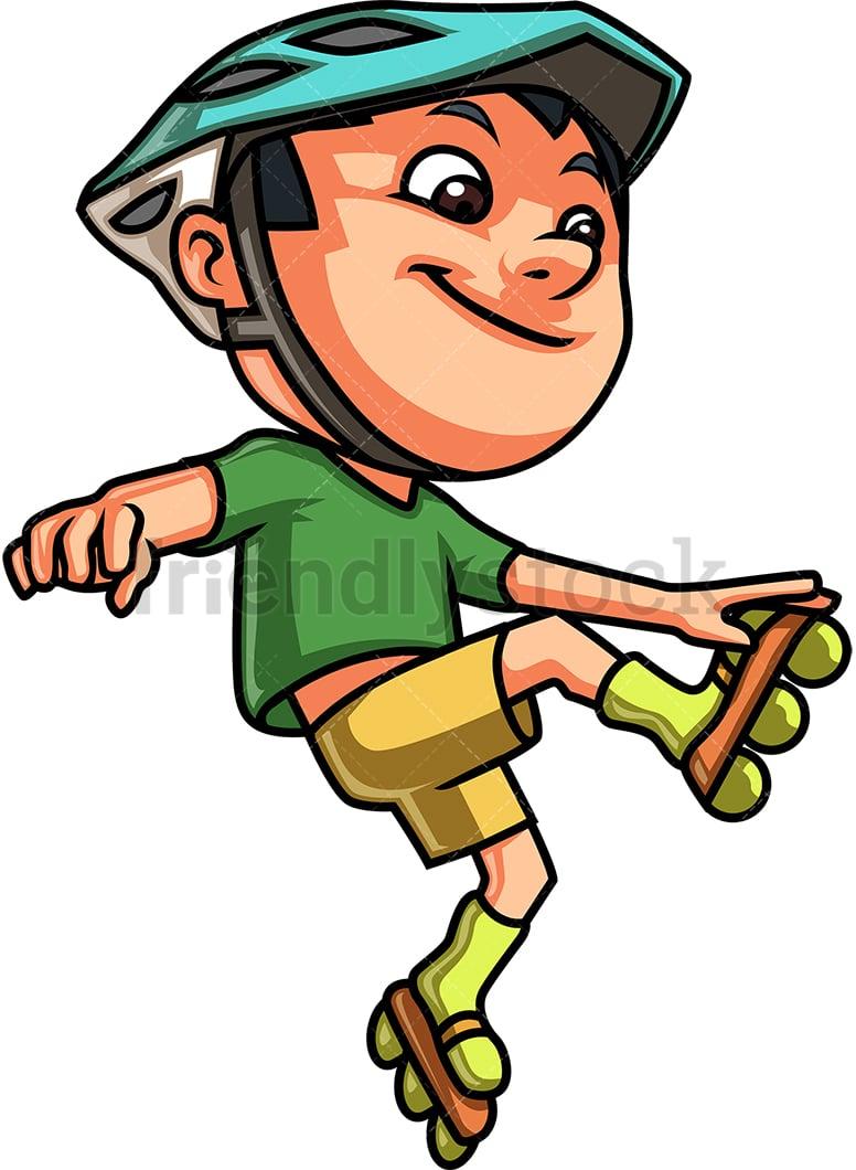 hight resolution of kid roller skating vector cartoon clipart