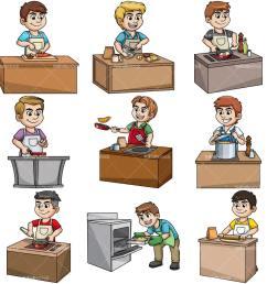 men cooking collection vector cartoon clipart [ 1200 x 1200 Pixel ]