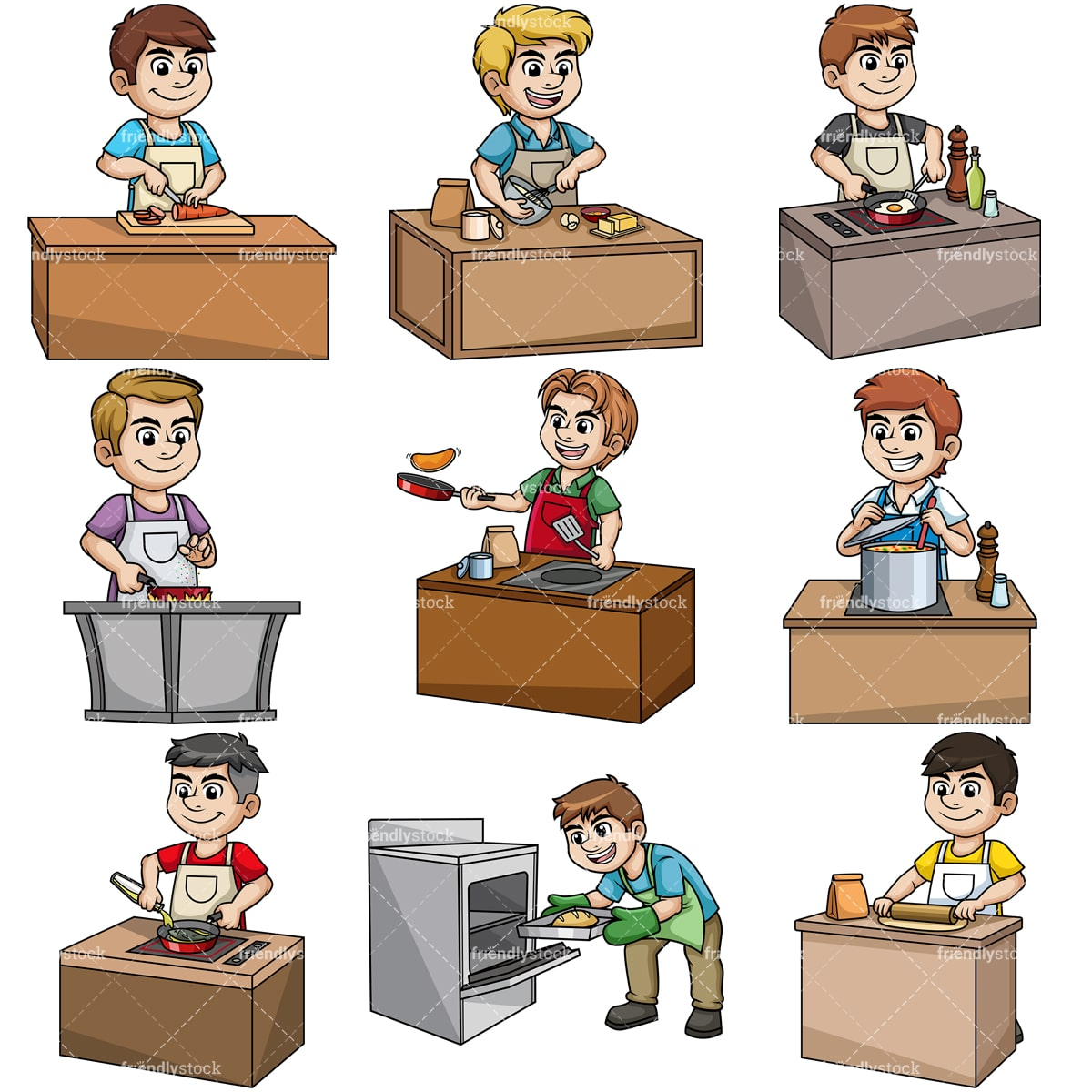 hight resolution of men cooking collection vector cartoon clipart