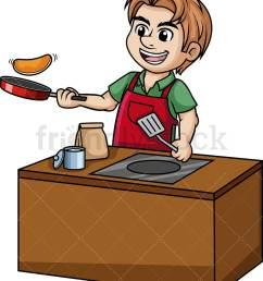 man making pancakes vector cartoon clipart [ 839 x 1000 Pixel ]