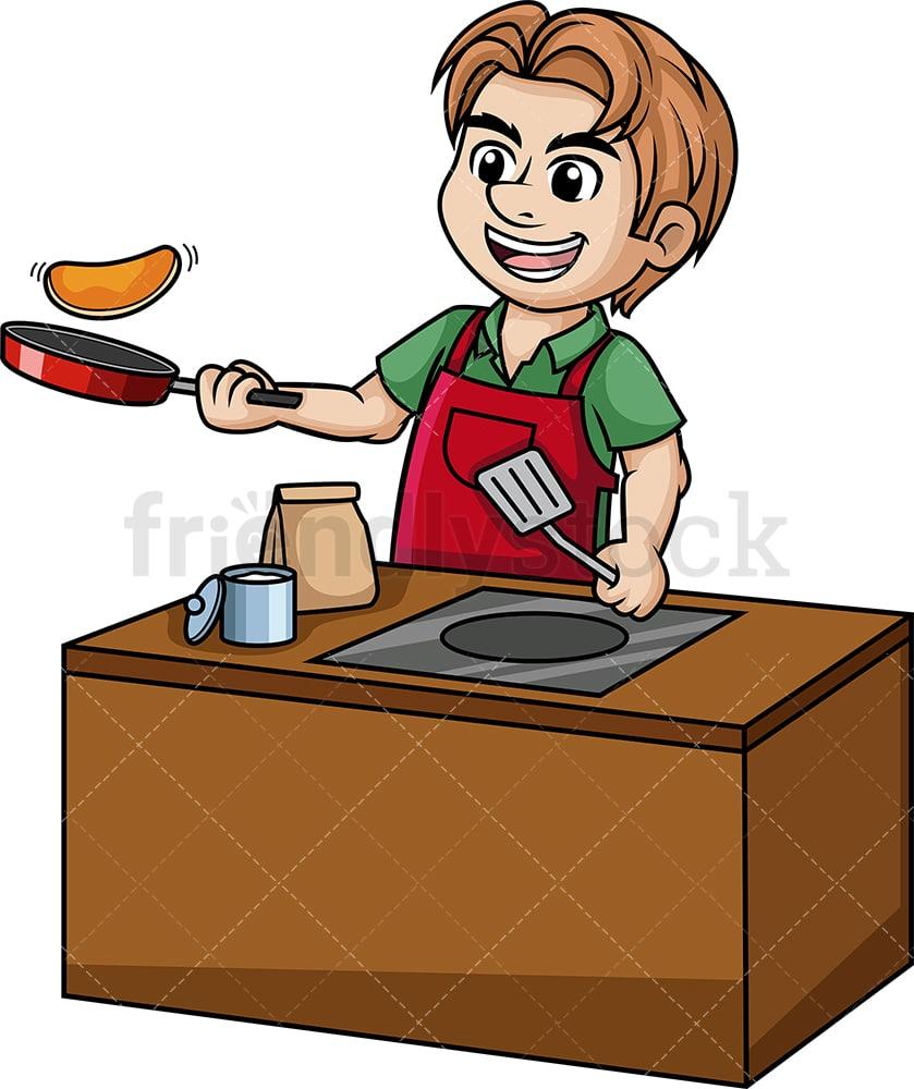 hight resolution of man making pancakes vector cartoon clipart