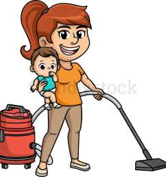 busy multitasking mom vector cartoon clipart [ 1000 x 1000 Pixel ]