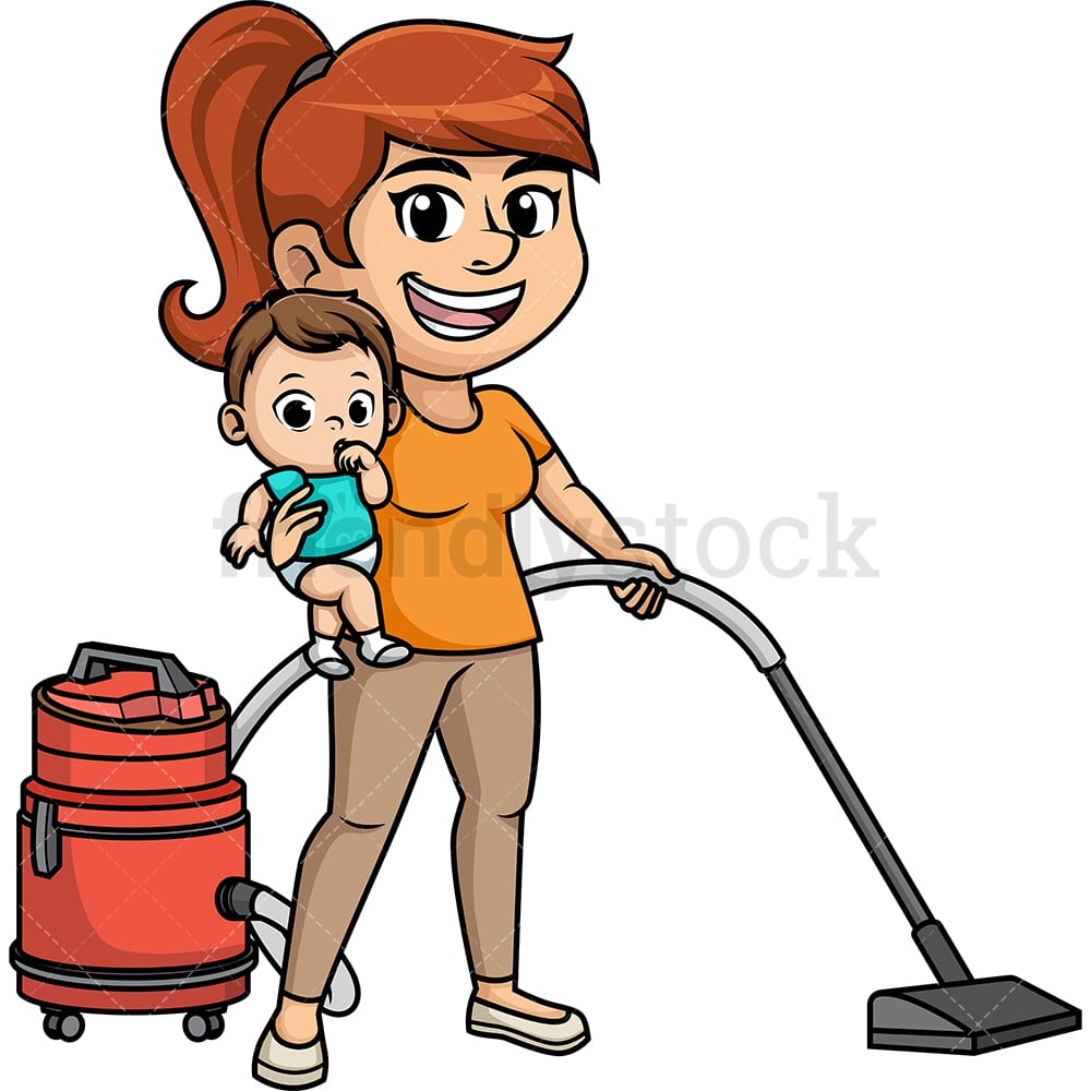 hight resolution of busy multitasking mom vector cartoon clipart